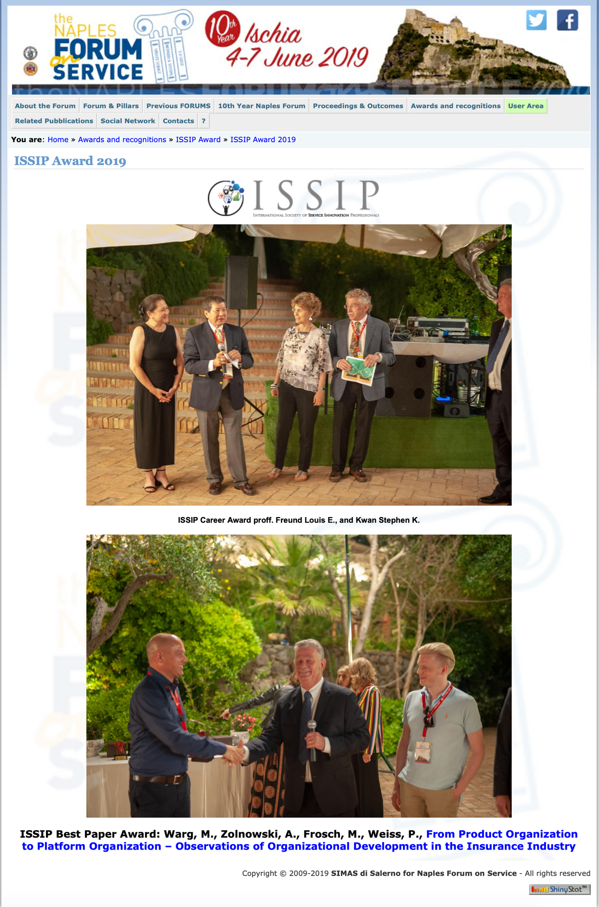 ISSIP_Award-2019 Naples Forum